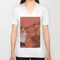 drum V-neck T-shirts featuring Drum Set by Peter Beck
