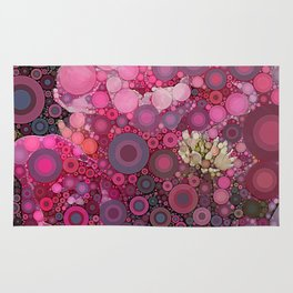 Pink Flowers at Twilight Abstract Rug