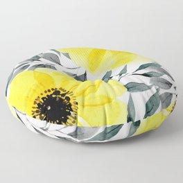 Big yellow watercolor flowers Floor Pillow