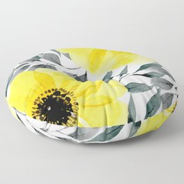 Big yellow watercolor flowers Floor Pillow