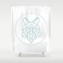 Geometric Blue Wolf Shower Curtain