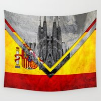 spain Wall Tapestries featuring Flags - Spain by Ale Ibanez