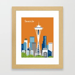 Seattle, Washington - Skyline Illustration by Loose Petals Framed Art Print