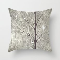 Winter sparkly night in black and white  Throw Pillow