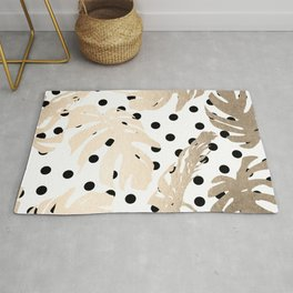 Simply Tropical White Gold Sands Palm Leaves on Dots Rug