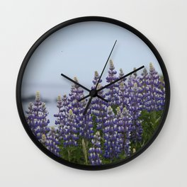 Lupine Flowers Photography Print Wall Clock