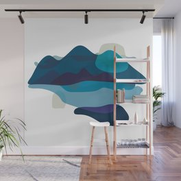 Abstract Mountains Landscape in Blue Wall Mural