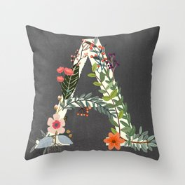 Chalkboard Woodland Initial-A-Whimsical Decor for Kids and Adults Throw Pillow