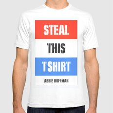 Steal This T Shirt MEDIUM Mens Fitted Tee White