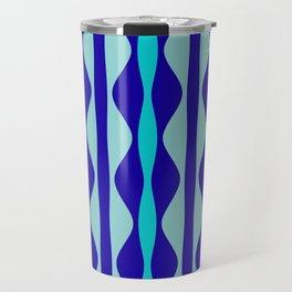 Curvy Blue Stripes Travel Mug