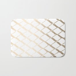 Luxe Gold Diamond Lattice Pattern on White Bath Mat