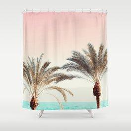 Modern California Vibes pink sky blue seascape tropical palm tree beach photography Shower Curtain