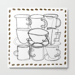 Coffee Beans and Mugs Metal Print