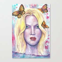Women face Butterfly abstract print Canvas Print