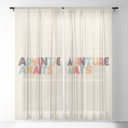 Adventure Awaits Retro Rainbow Typography Sheer Curtain