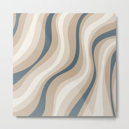 Pastel Blue and Coffee Stripes Metal Print