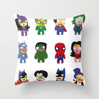 superheroes Throw Pillows featuring superheroes by Manola  Argento