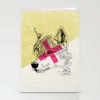 techno Stationery Cards featuring Techno Wolf by Zeke Tucker