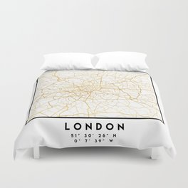 LONDON ENGLAND CITY STREET MAP ART Duvet Cover