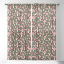 Red Mushrooms on Green Sheer Curtain