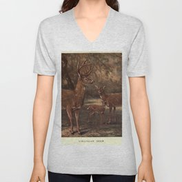 Vintage Virginia Deer Painting (1909) Unisex V-Neck