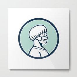 Female Nurse Wearing Face Mask Side Profile Mascot Metal Print
