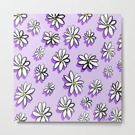 Purple daisy pattern Metal Print