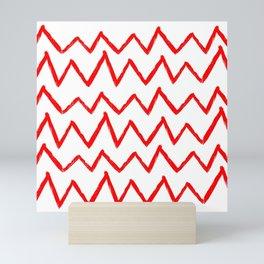 Hand-Drawn Zig Zag (Red & White Pattern) Mini Art Print