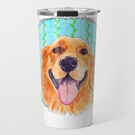 You're Never Fully Dressed without a Smile, Golden Retriever, Whimsical Watercolor Painting, White Travel Mug