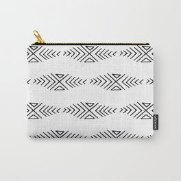 mudcloth 11 minimal textured black and white pattern home decor minimalist beach Carry-All Pouch