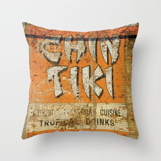 Chin Tiki Wall  Throw Pillow