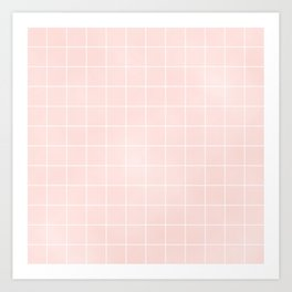 Pink Coral Grid Art Print