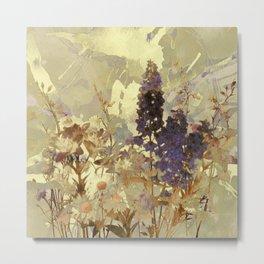 floral on beige Metal Print