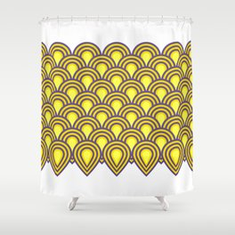 retro sixties inspired fan pattern in yellow and violet Shower Curtain