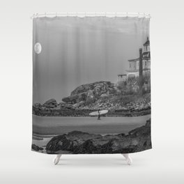 Surf's Over B&W Shower Curtain
