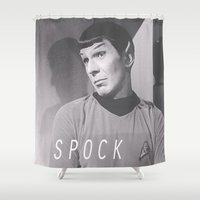 spock Shower Curtains featuring Sassy Spock / Star / Trek by Earl of Grey