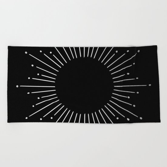 Sunburst Moonlight Silver on Black Beach Towel