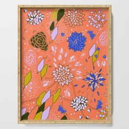 Orange Flower Pattern Serving Tray