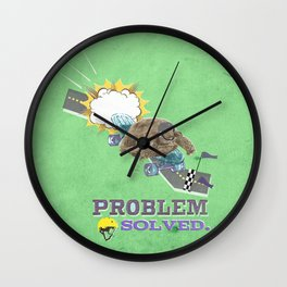 problem solved.. turtle and the skateboard Wall Clock