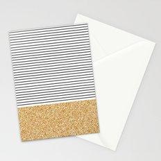 Minimal Gold Glitter Stripes Stationery Cards