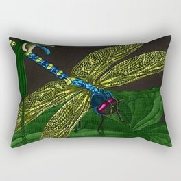 Dragonfly on a leaf by Jeanpaul Ferro based on b&w print by E.C. Escher Rectangular Pillow