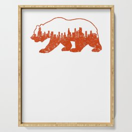 downtown chicago city skyline strolling bear shape tee Serving Tray