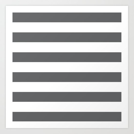 Simply Striped in Storm Gray and White Art Print