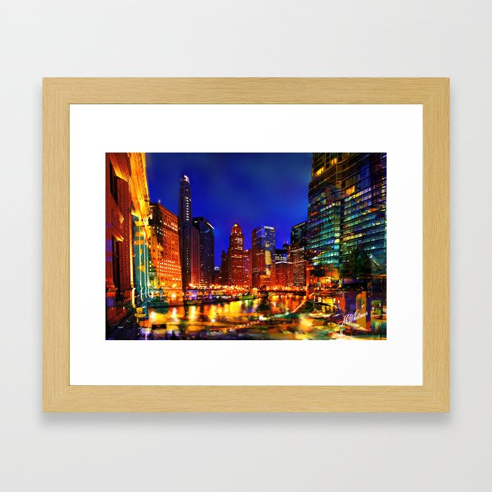 Chicago at Dusk Framed Art Print