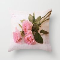 roses Throw Pillows featuring Roses by Fine Art by Rina