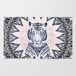 White Tiger Sapphire and Rose Mandala Rug