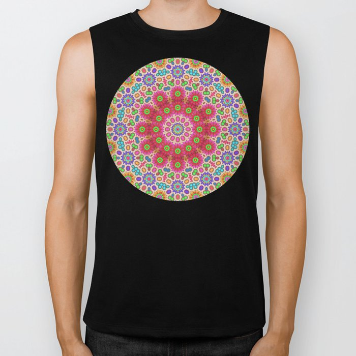 Brightly coloured kaleidoscope of abstract spring flowers Biker Tank
