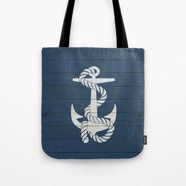 Blue Wood Anchor Tote Bag