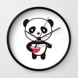 Cute Panda with rice bowl Wall Clock