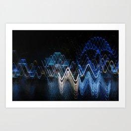 Cool Abstract lights ICM Art Print